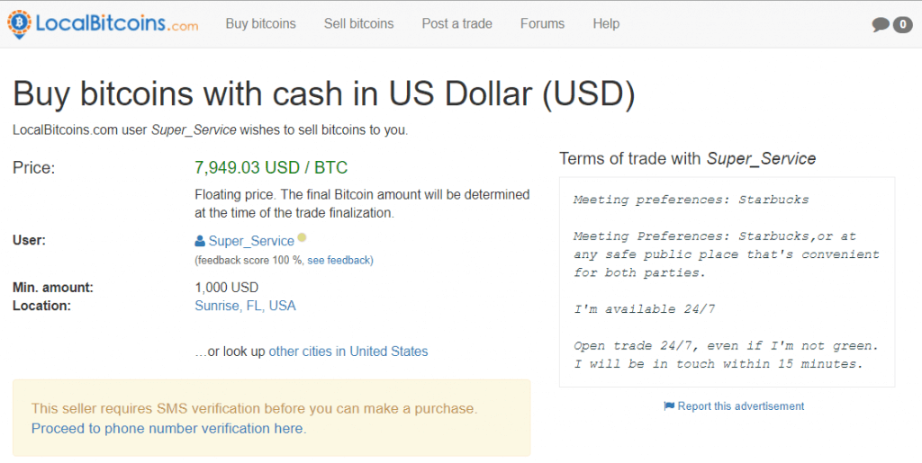 Trade rules with seller at LocalBitcoins
