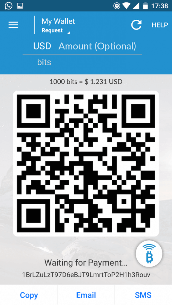 Use the QR code on Airbitz