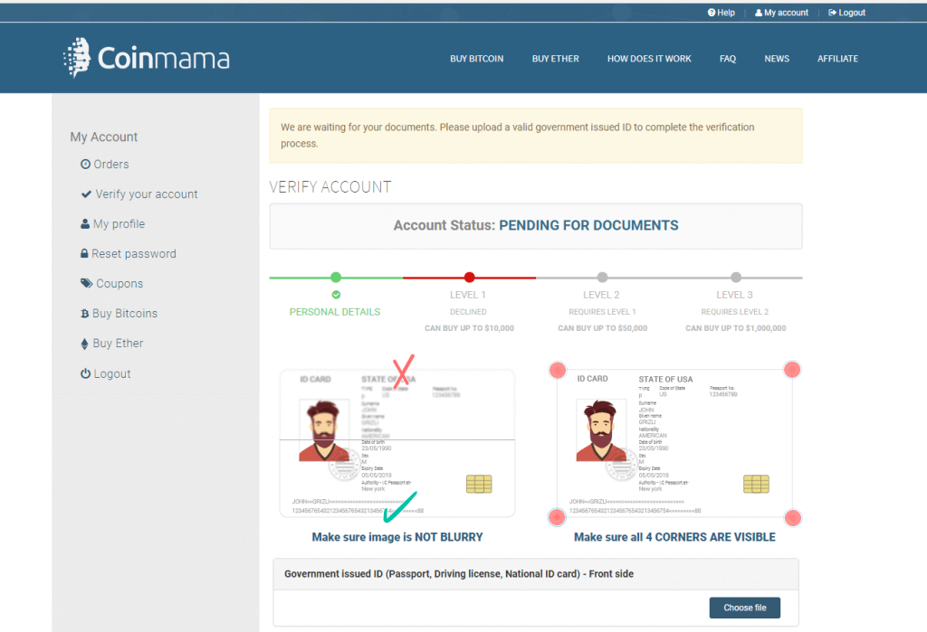 Verification at Coinmama