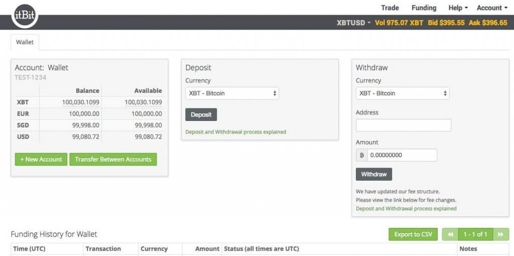 Withdraw BTC from itBit