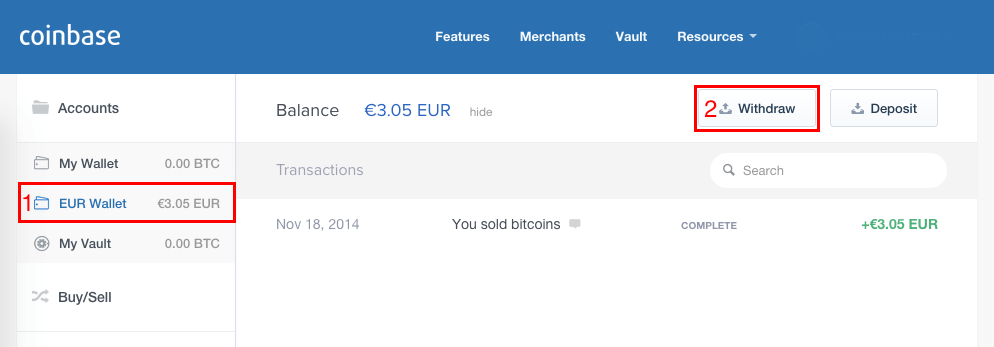 Withdraw money from Coinbase
