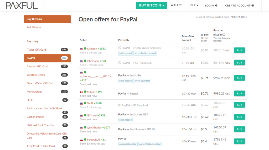 Buy bitcoin with PayPal at Paxful