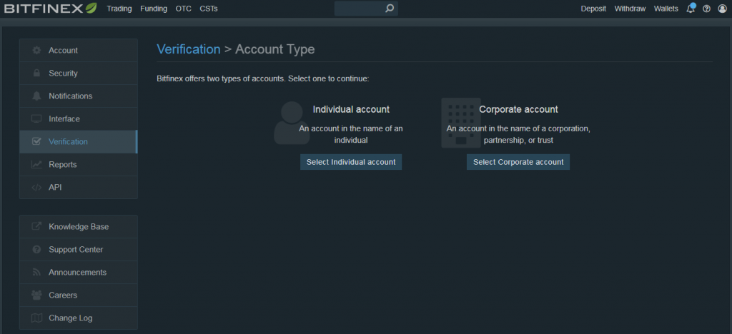 Choose account type at Bitfinex