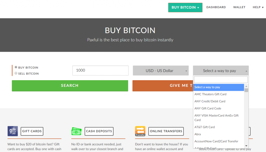 Choose payment method to buy BTC on Paxful