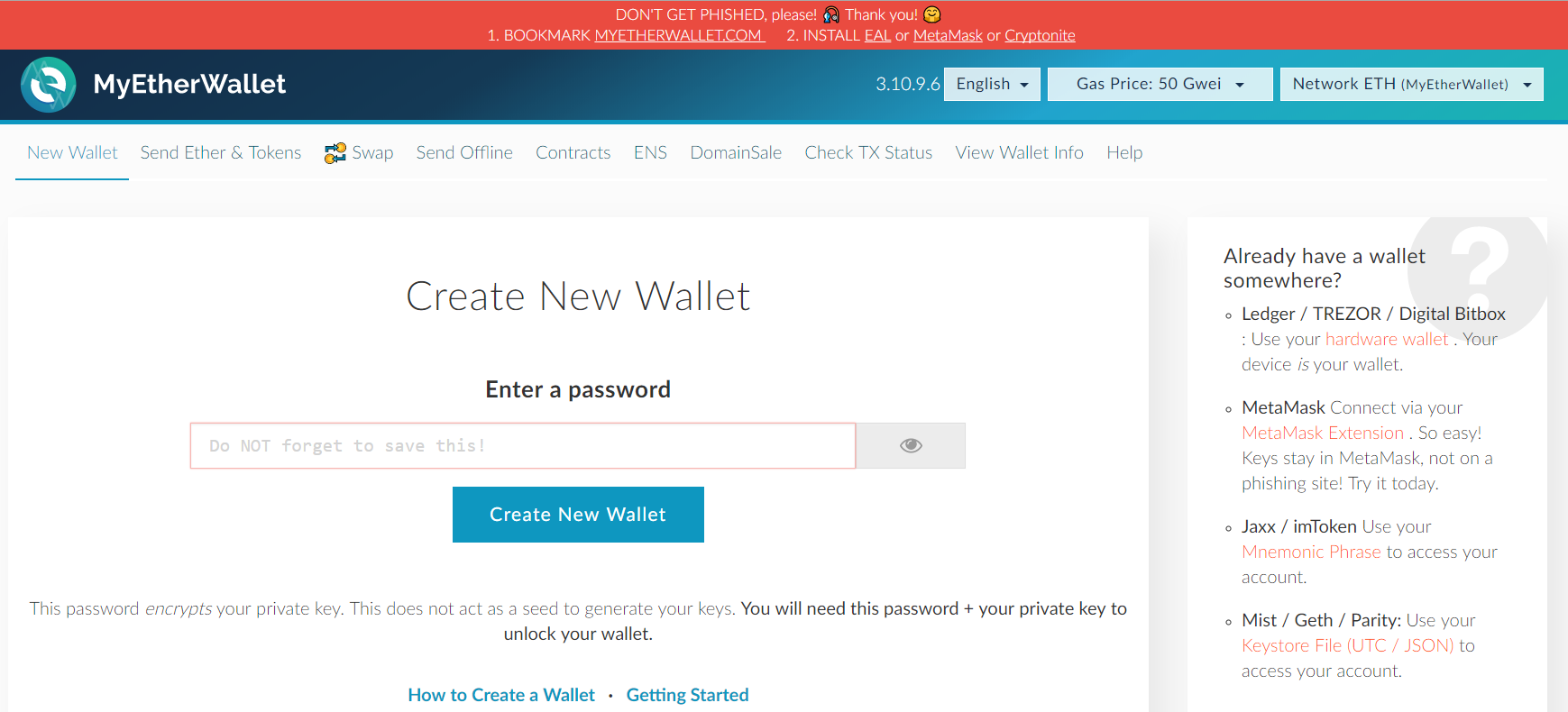Create wallet at MyEtherWallet