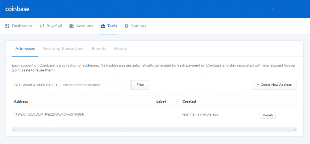 Find wallet address at Coinbase