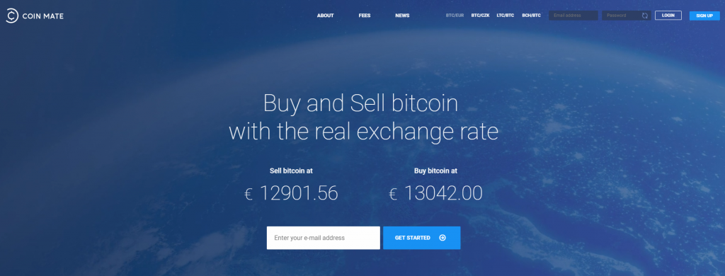 Get bitcoins with CoinMate exchange