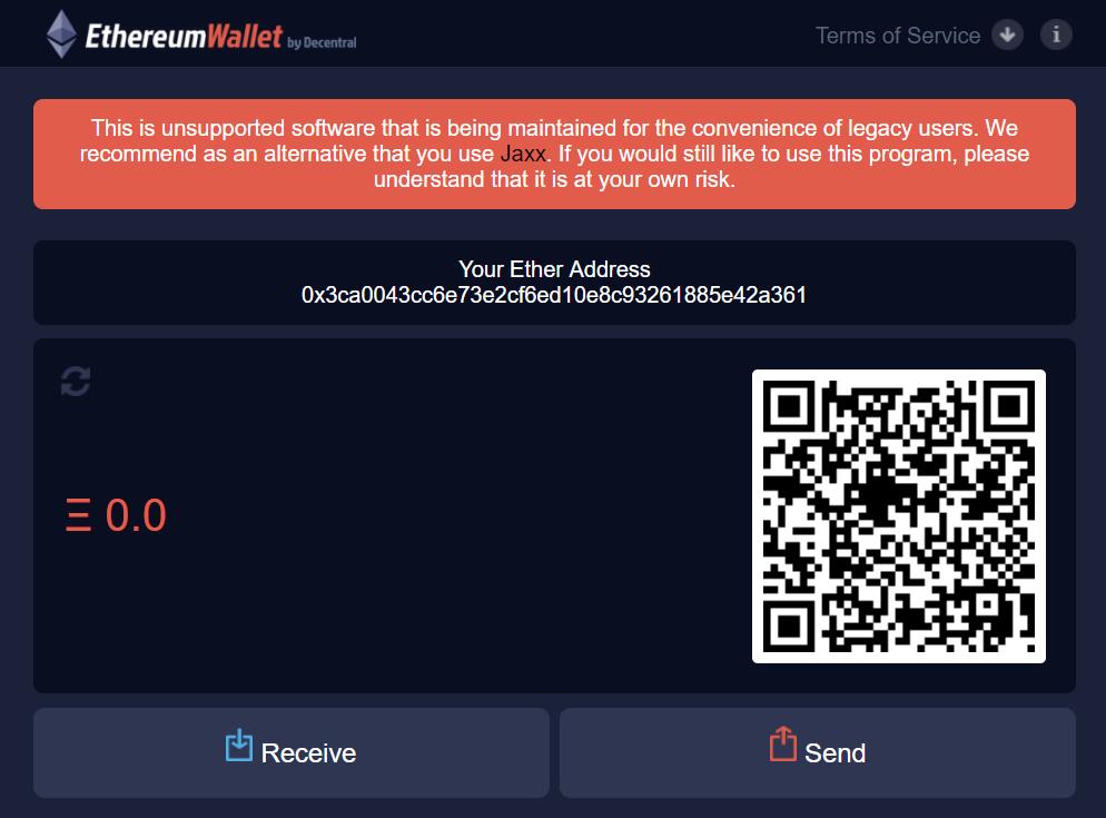 Online application EthereumWallet