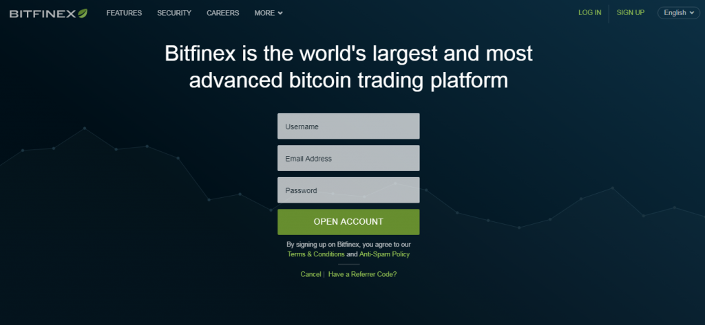 Open account on Bitfinex exchange