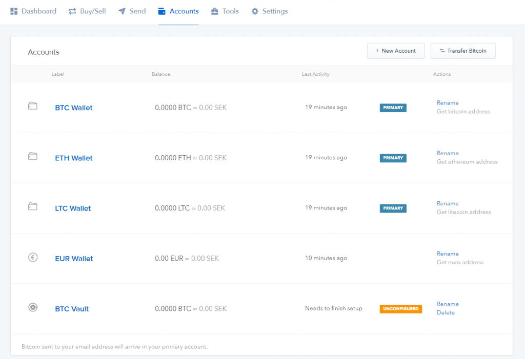 Wallet accounts page at Coinbase