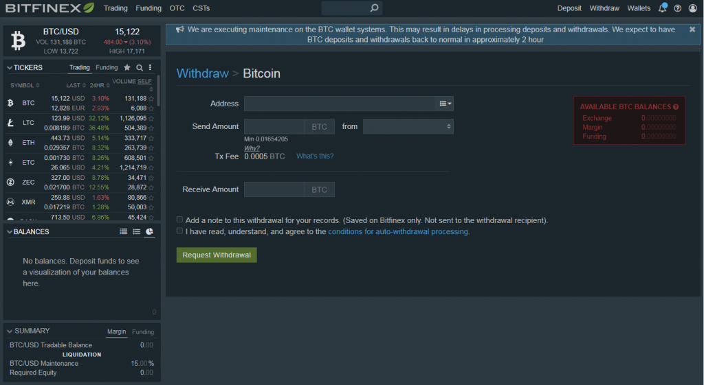 Withdraw bitcoins from Bitfinex