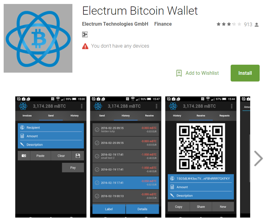 Electrum BTC wallet on Google Play