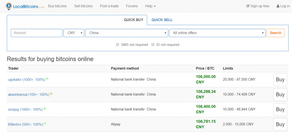 Order BTC at LocalBitcoins in China