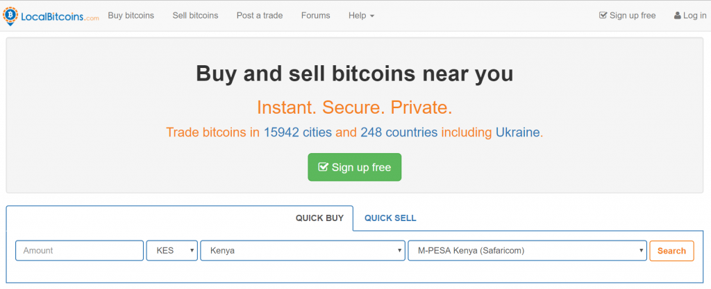 Purchase page on LocalBitcoins