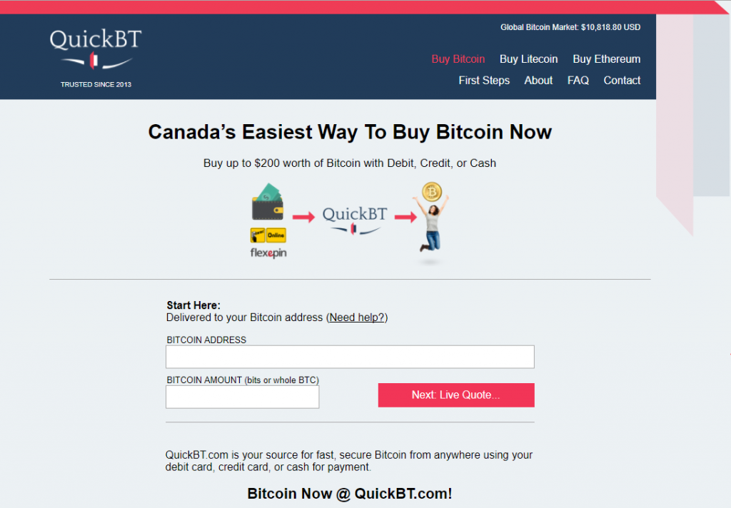 Buy bitcoins on QuickBT