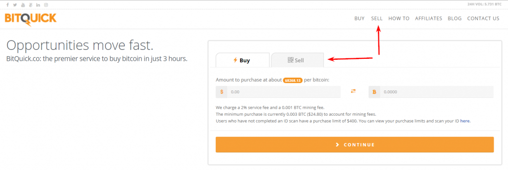 "Сlick ""Sell"" button at BitQuick"