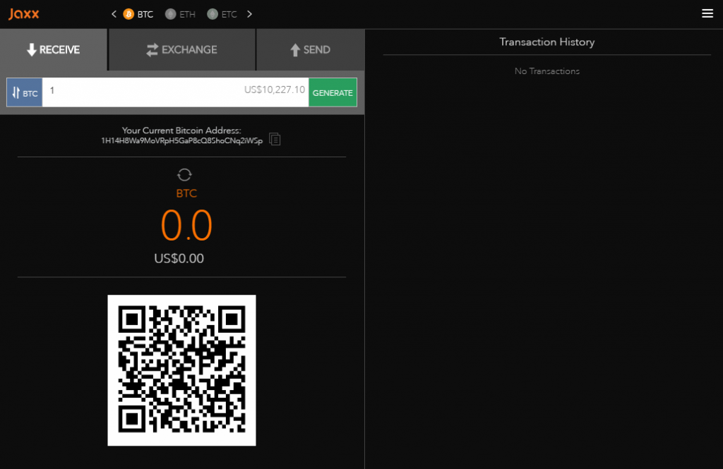 Add funds to the Jaxx wallet