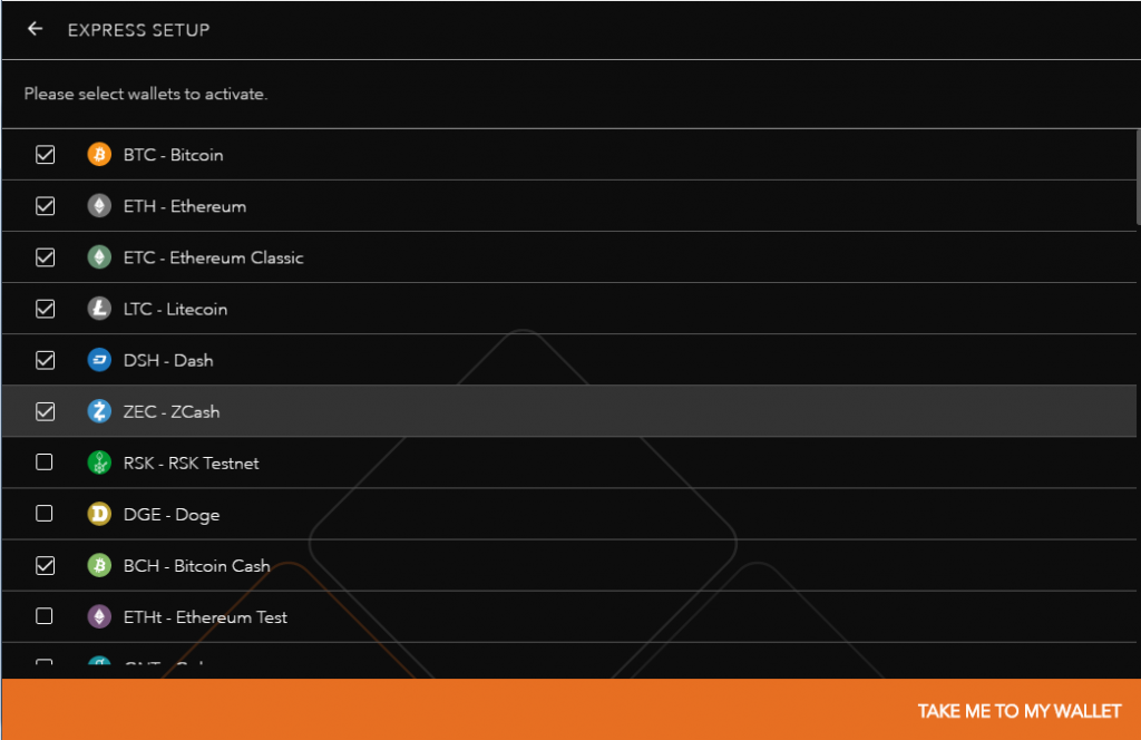 Available currencies in Jaxx