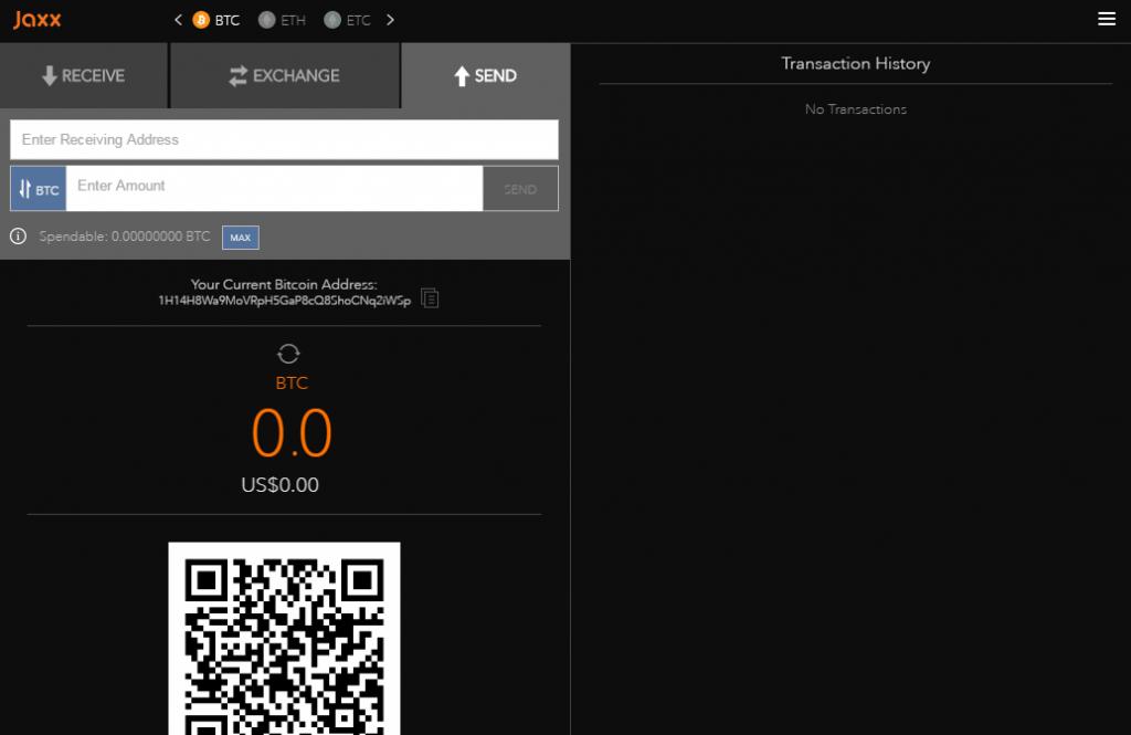 Sending bitcoins in Jaxx