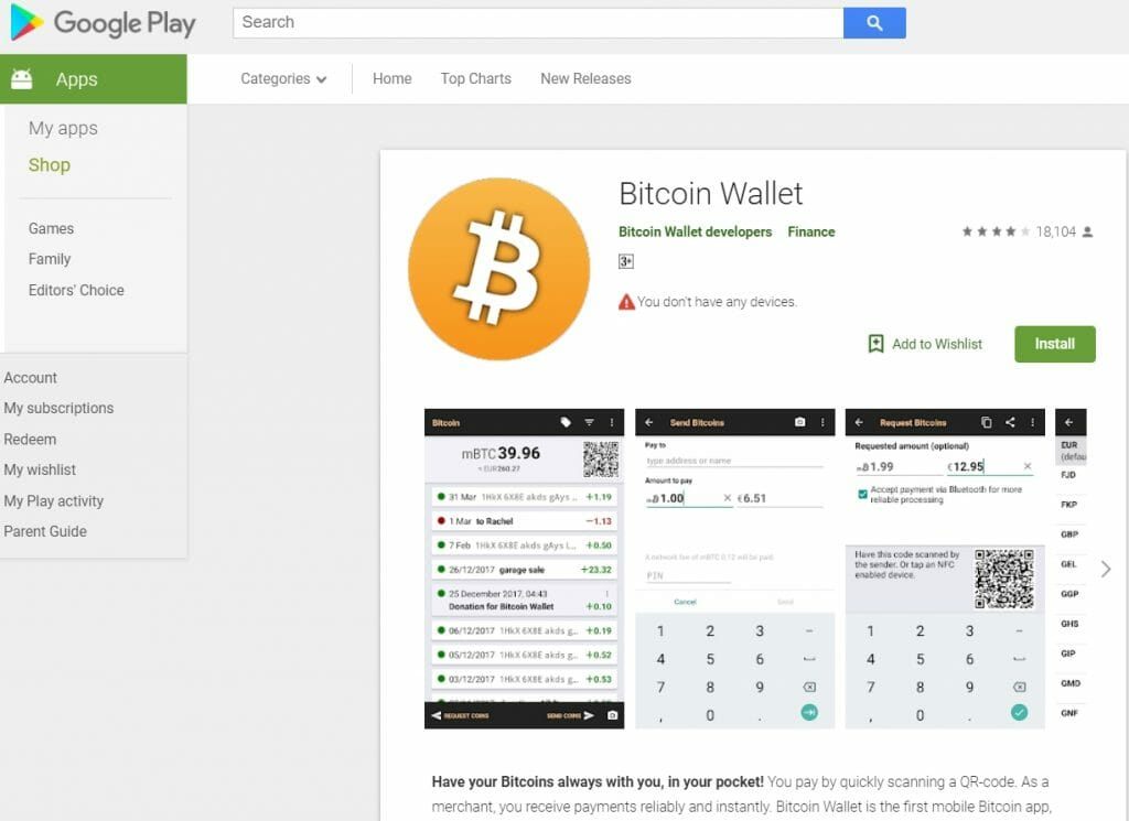 Bitcoin wallet mobile app