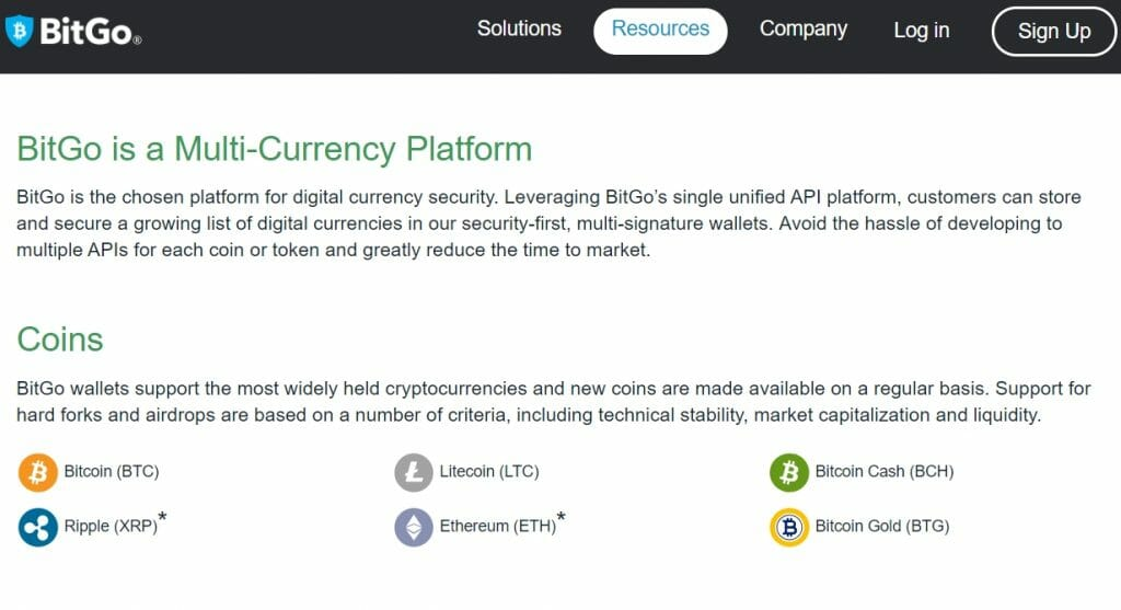 BitGo multi-currency platform
