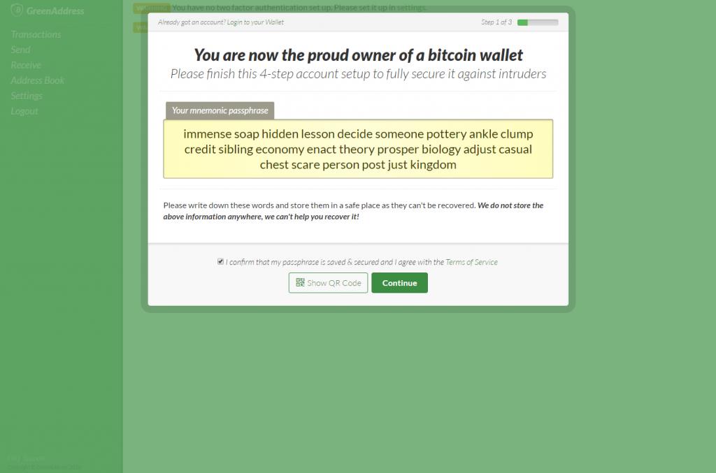 GreenAddress account recovery phrase