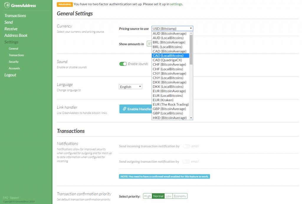 GreenAddress bitcoin currencies