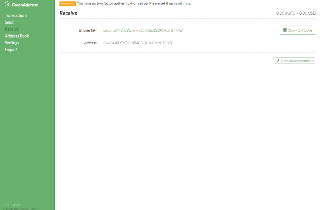 Receiving bitcoins in GreenAddress