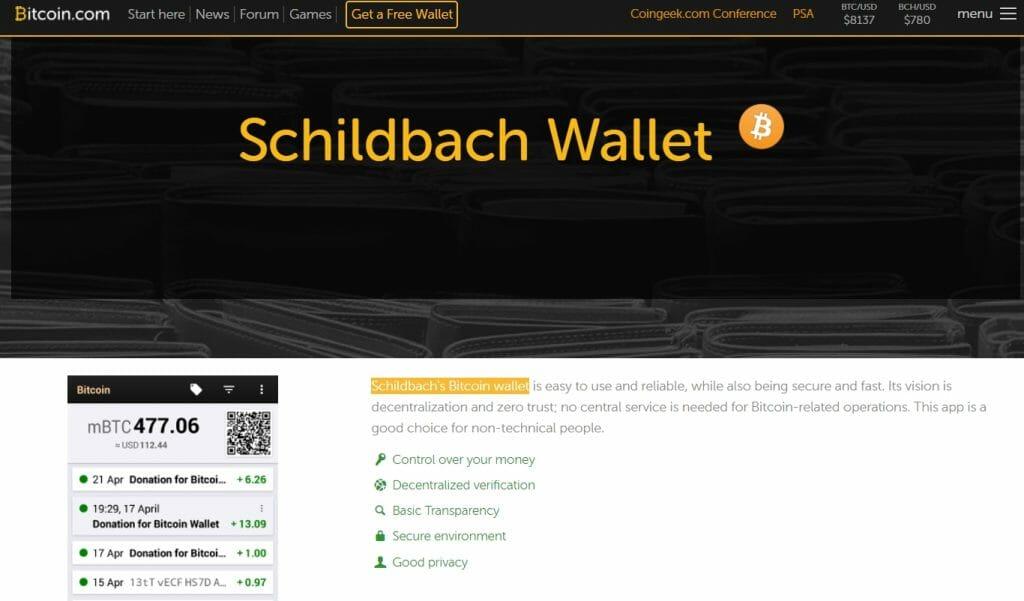 Schildbach bitcoin wallet app