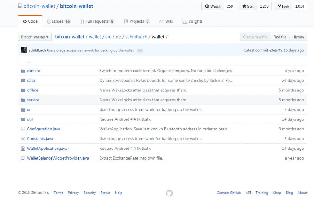 Schildbach wallet folder at GitHub