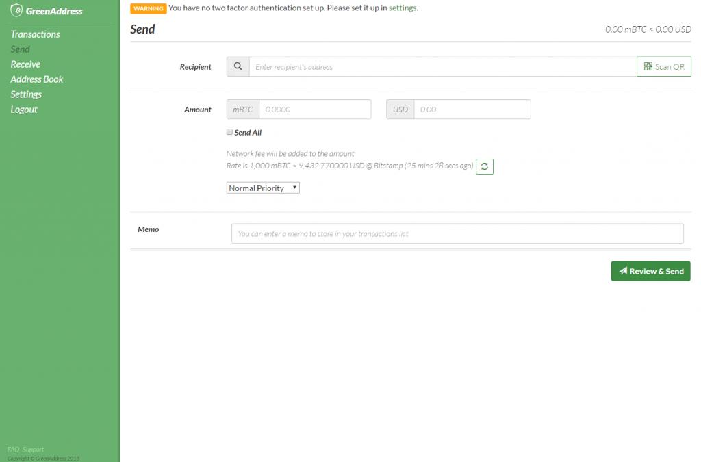 Sending bitcoins in GreenAddress