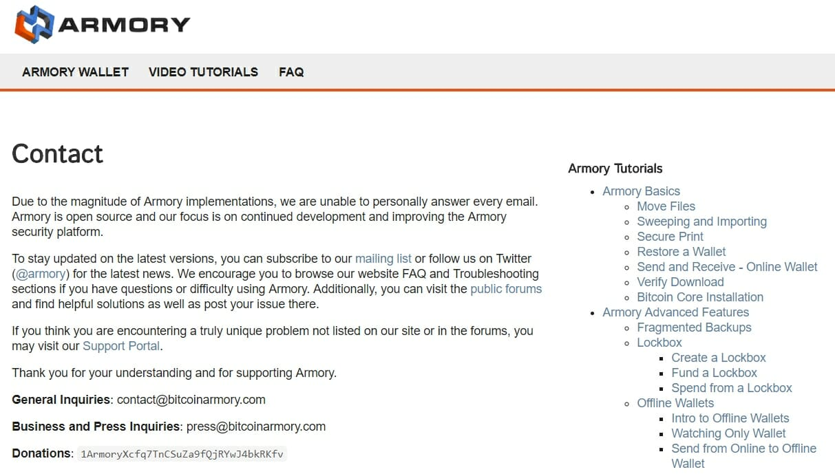 Armory contact section