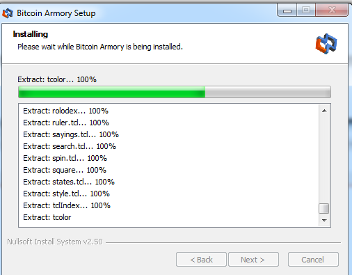 Armory wallet installation process