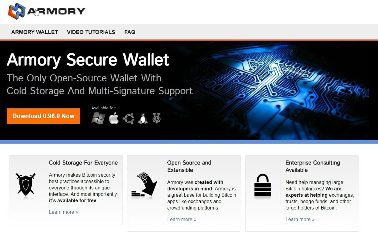 Armory wallet website