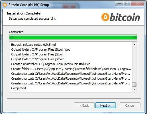 Bitcoin Core completed installation