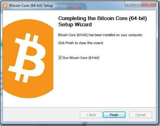 Bitcoin Core setup completing