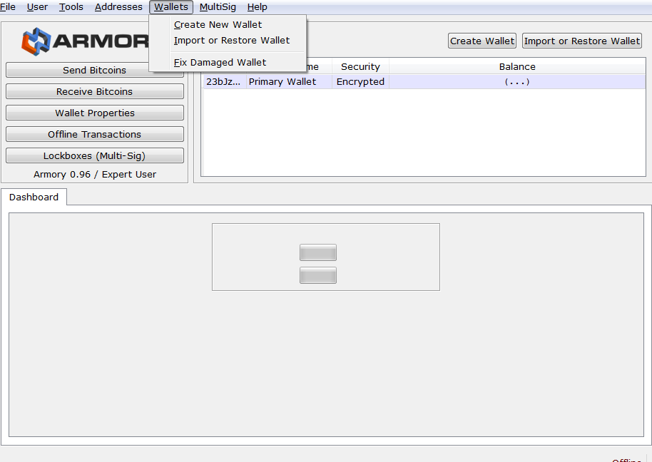 Armory wallet import and restore