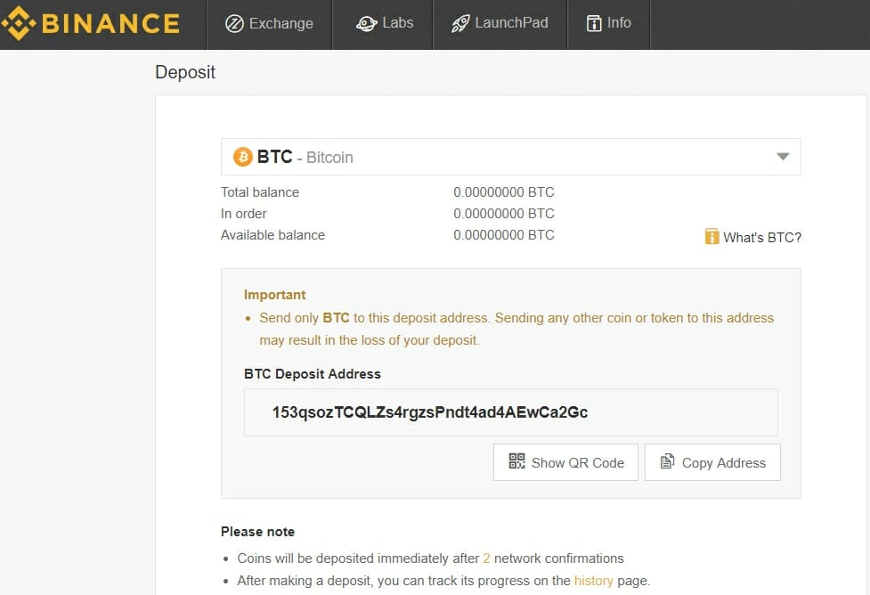 Binance deposit section