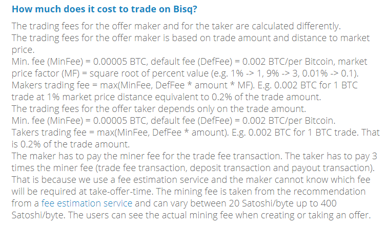 Bisq trading fees