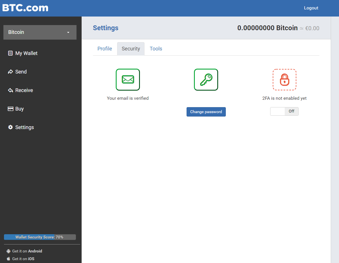 BTC.com security settings