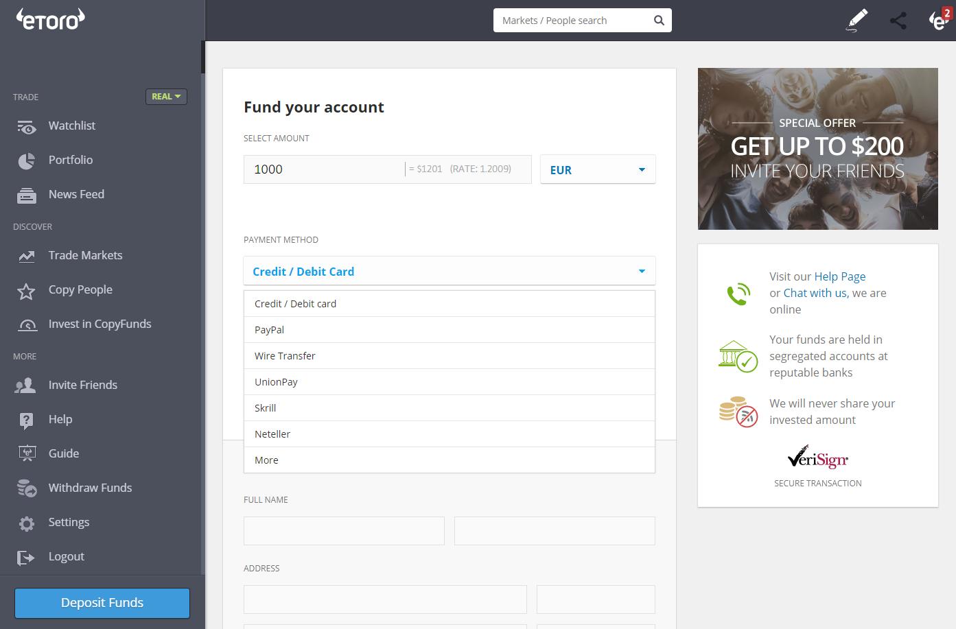 Choosing payment method at eToro