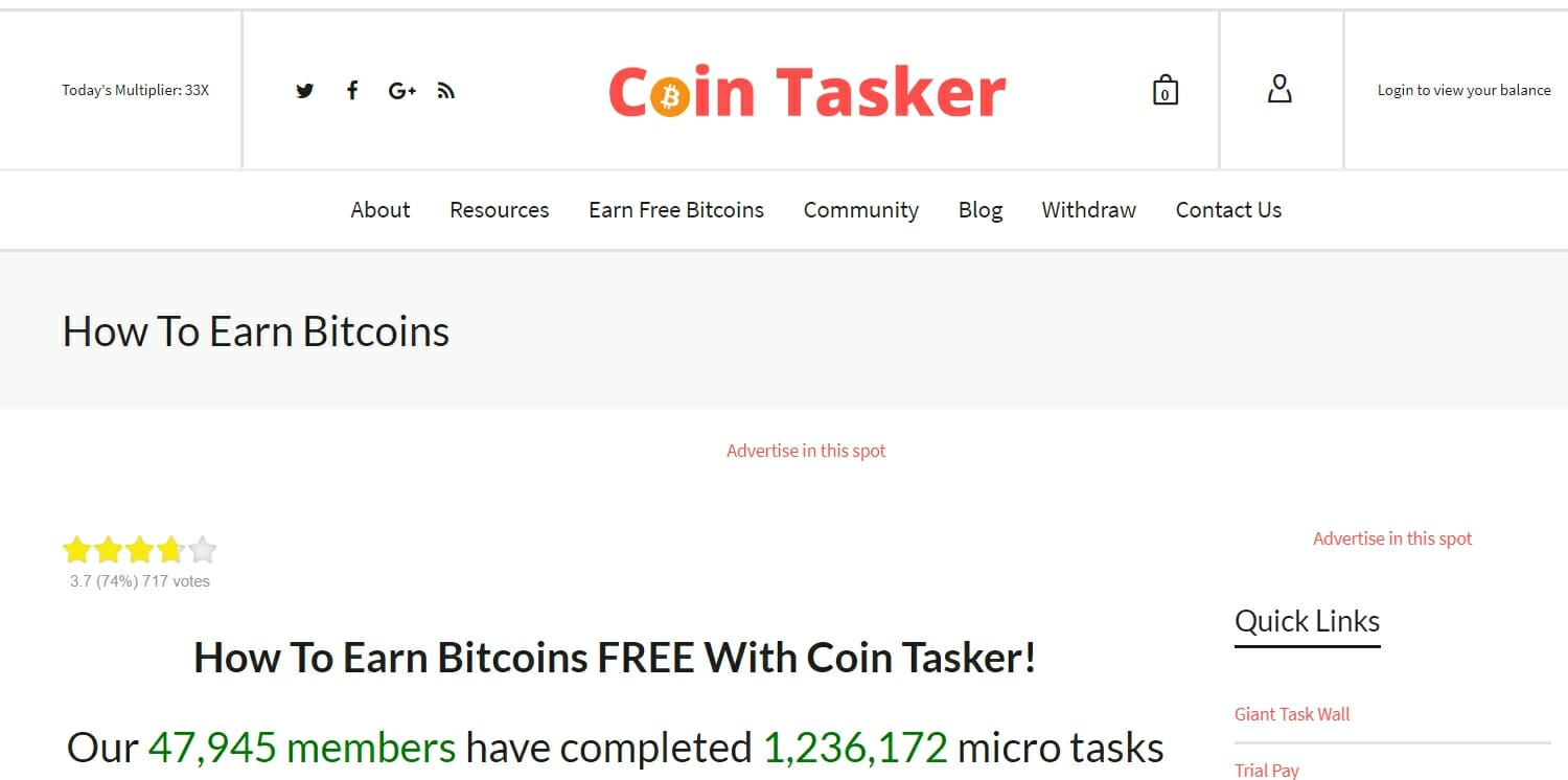 Coin Tasker website