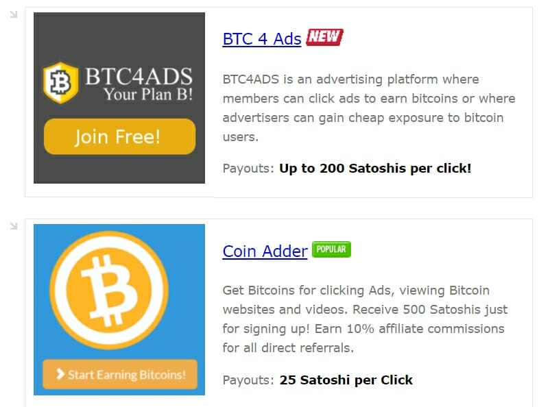 Earn BTC by clicking ads