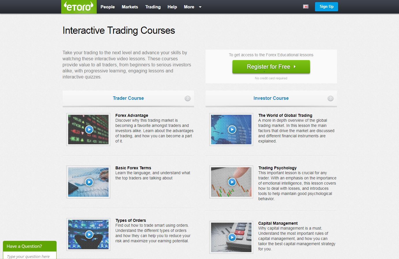 eToro courses