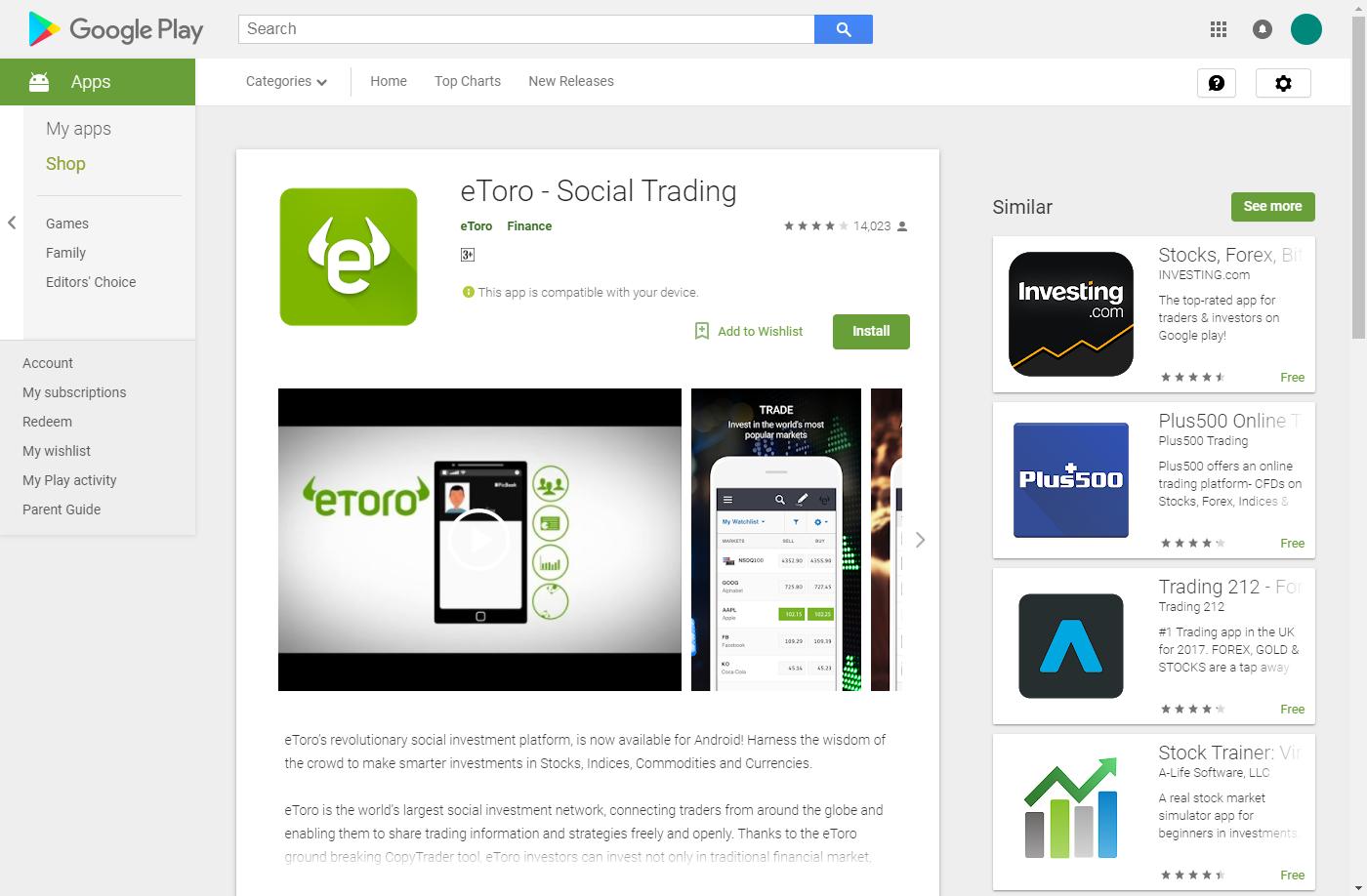 eToro Google app