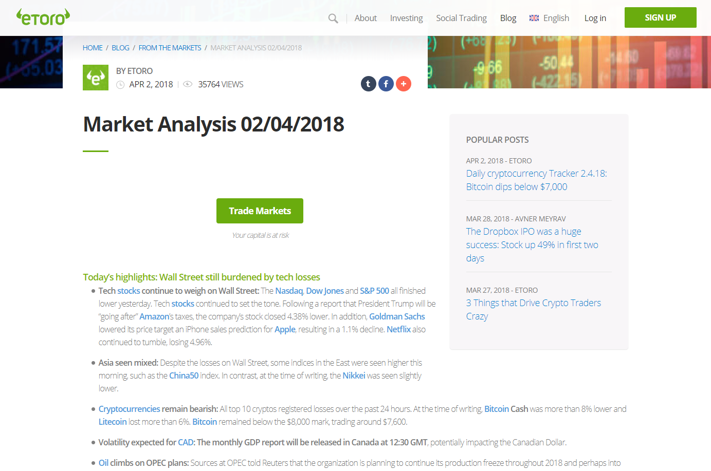 eToro market analysis