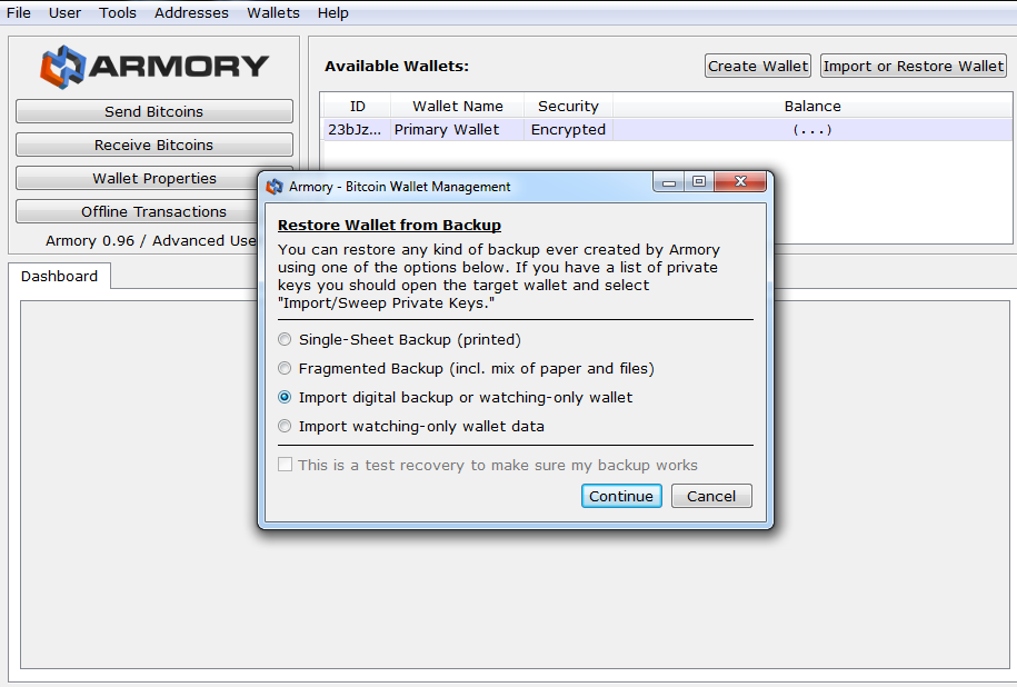 How to restore Armory wallet from backup
