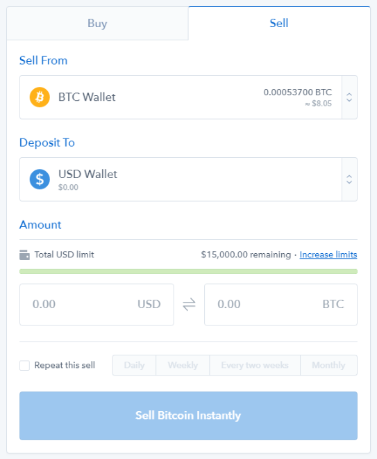 Sell bitcoin with Coinbase