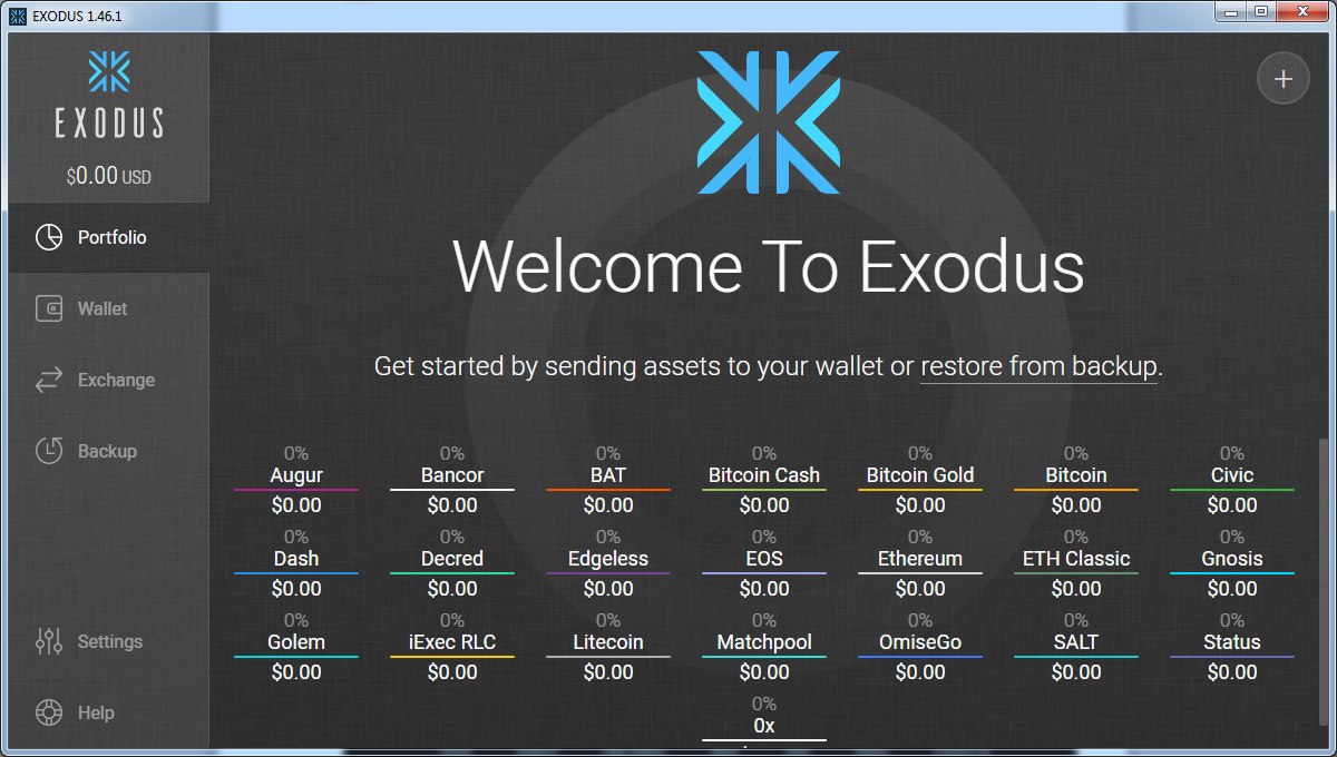 Various altcoins in Exodus