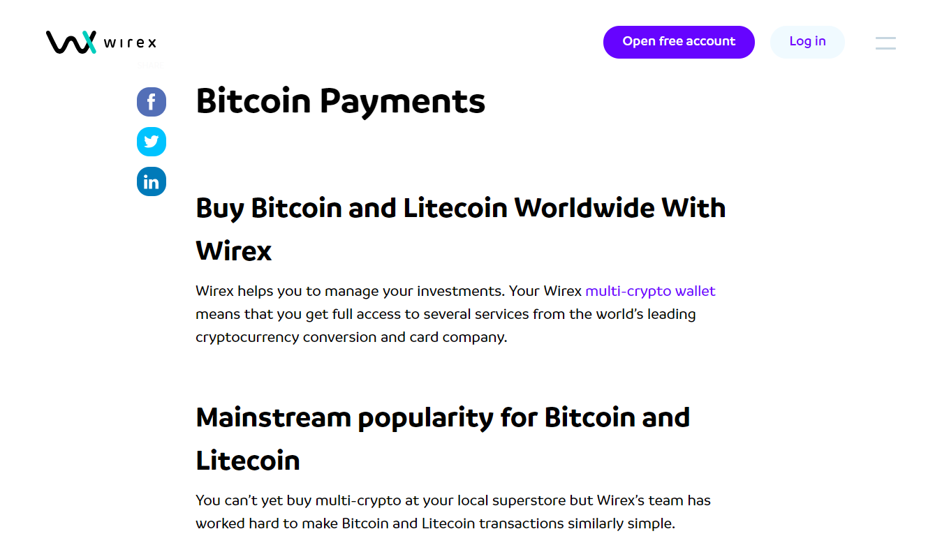 Bitcoin and Litecoin are supported
